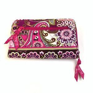 Vera Bradley Bags - Vera Bradley Wallet Zip Around Turnlock Pink Green